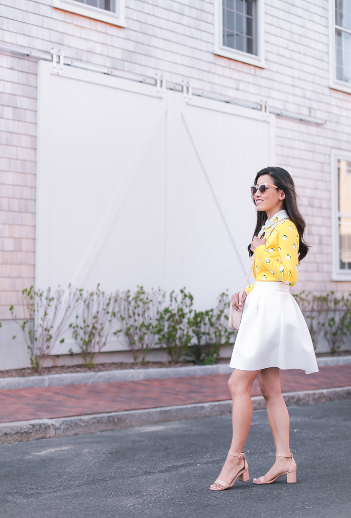 lemon print top white pleated skirt summer outfit