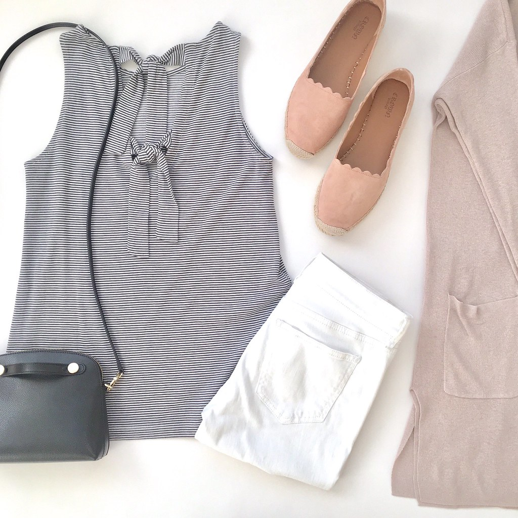 LOFT Striped Bow Back Shell Flatlay