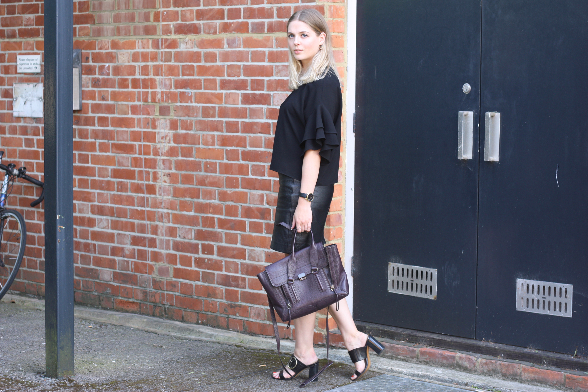 Whistles Fairhope buckle sandals, 3.1 Phillip Lim Pashli medium burgundy and Zara black ruffle top