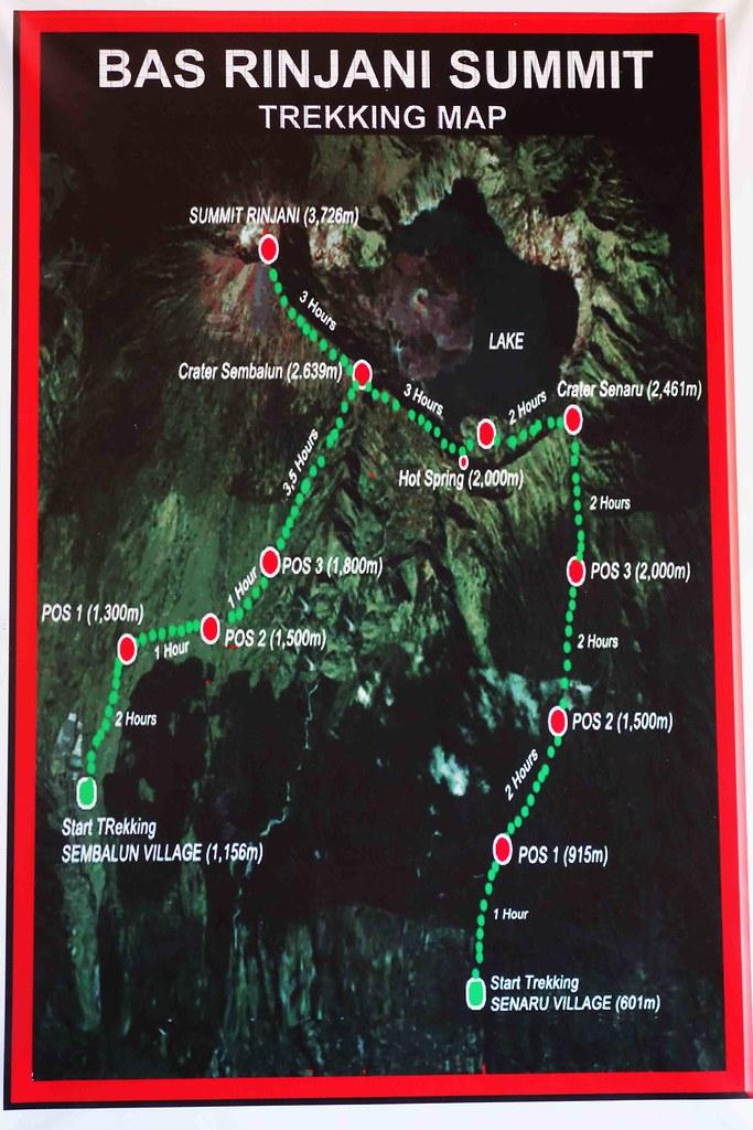 Rinjani - Bas Trekking Map