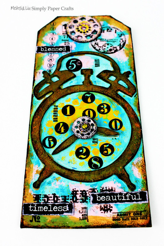 Meihsia Liu Simply Paper Crafts Mixed Media Tag Circle Clock Simon Says Stamp Tim Holtz