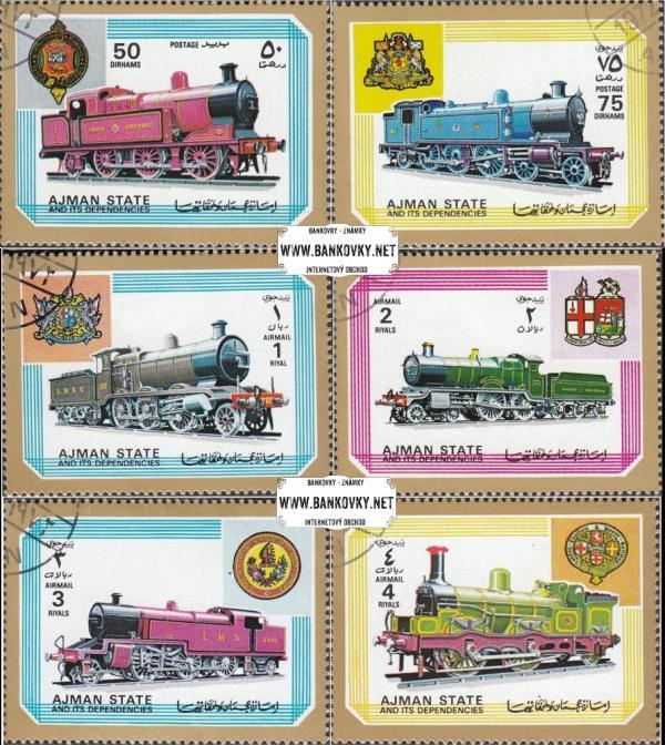Známky Ajman 1972 Staré lokomotívy, razítkovaná séria