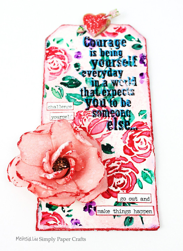 Meihsia Liu Simply Paper Crafts Mixed Media Tag Corage Rose Stencil Simon Says Stamp Tim Holtz