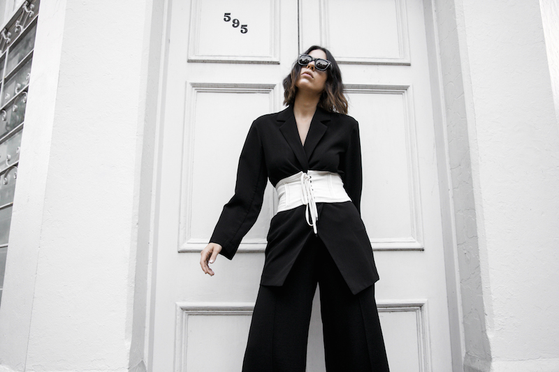 corset belt trend black suit street style loafer mules Givenchy logo tote bag monochrome fashion blogger minimal style kaity modern legacy (4 of 9)