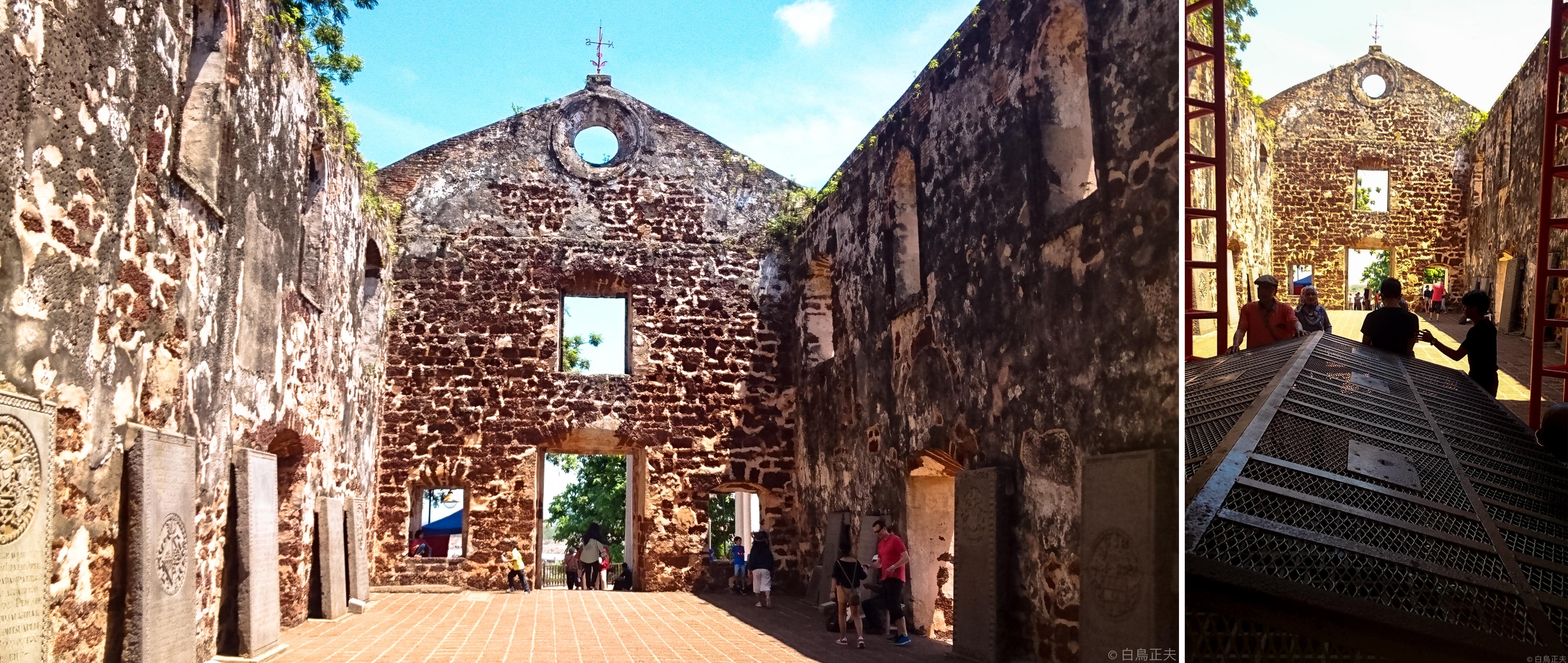 左)ポルトガルのセントポール教会跡 右)フランシスザビエルの遺体が一時安置されていた場所
