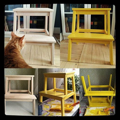 #теперьбанановый - IKEA step stool proved to be extremely useful in my household, so I got a second one for kitchen/bedroom duty. First one was painted black, this one is bright #yellow. Small project completed over the weekend for #kuzzzmahomesweethome