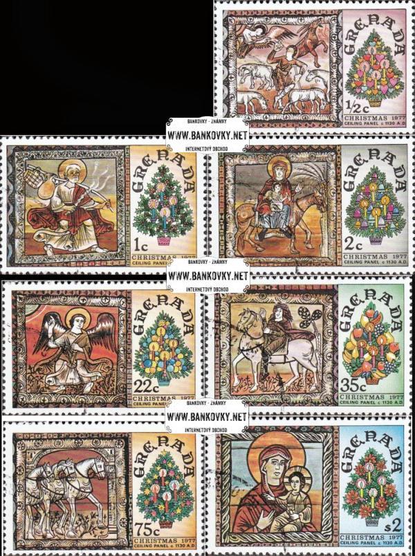 Známky Grenada 1977 Vianočné maľby, razítkovaná séria