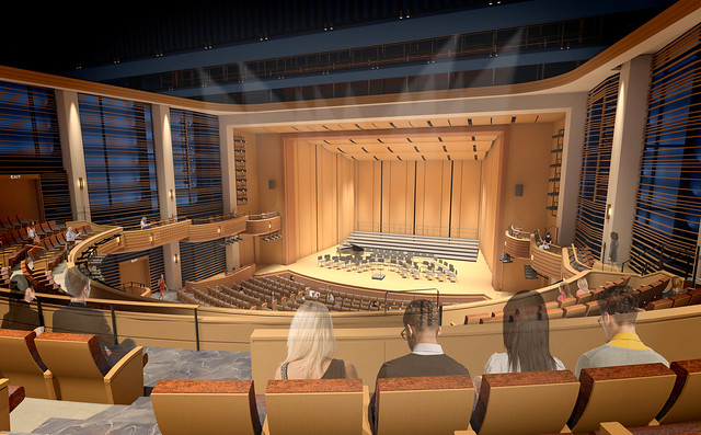 A rendering of the proposed performance hall.