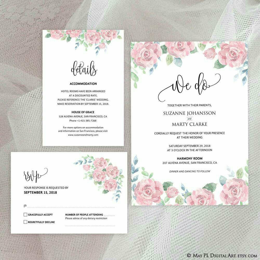 Watercolor pink rose \'We Do\' design, high resolution Weddi…   Flickr