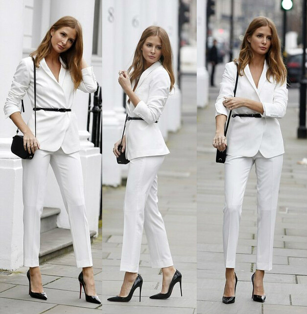 white-pant-suit, skinny-belt, black-skinny-belt, black-heels, white-blazer