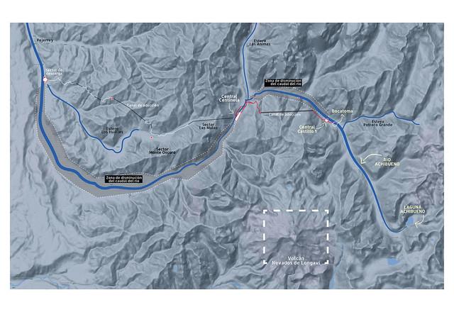 Mapa de intervención del proyecto hidroeléctrico Achibueno