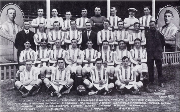 The Brighton & Hove Albion Football Club Team for the 1914-15 Season, photographed by Ebenezer Pannell of Hove