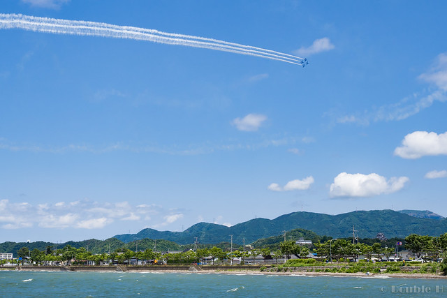 Blue Impulse's rehearsal flight for the 410th anniv. of Hikone Castle (30) Diamond 360 Turn