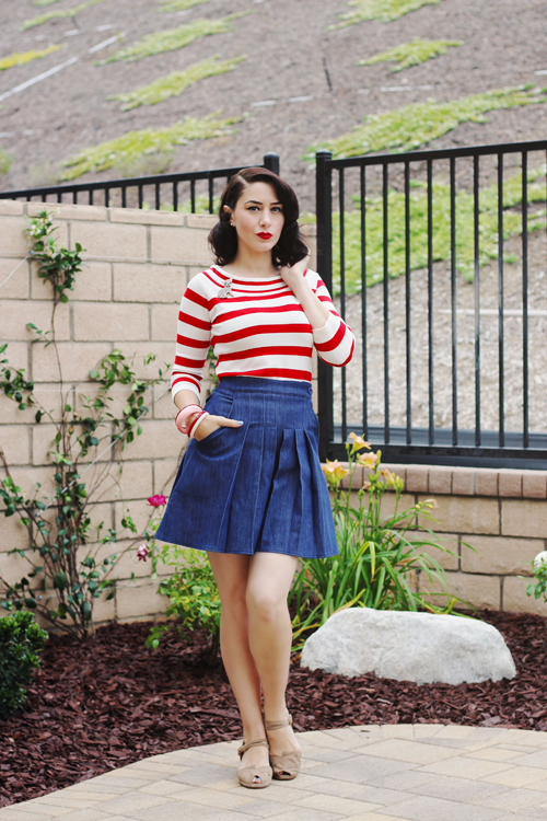 Top Vintage Dancing Days by Banned 50s Ahoi Stripes Top in Red and White Miss Candyfloss 50s Vivian Wide Leg Shorts in Navy