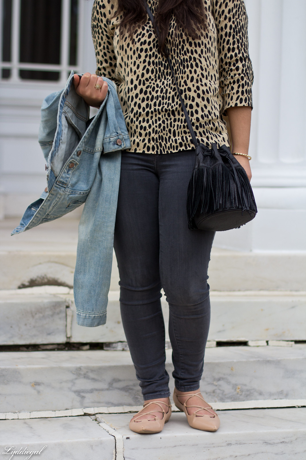 leopard blouse, grey jeans, denim jacket, fringe bag-3.jpg