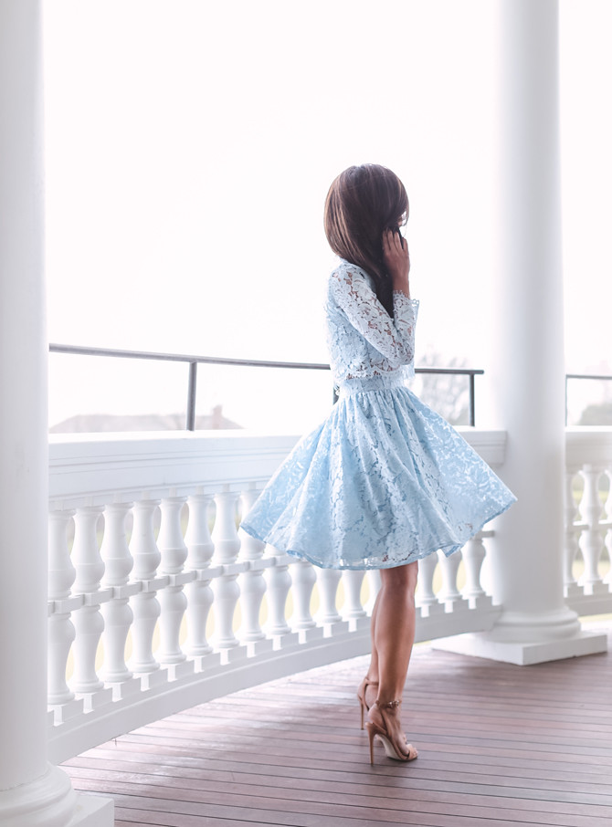 chicwish blue lace skirt dress wedding guest outfit