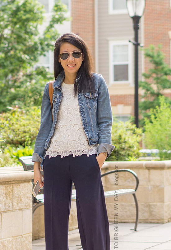 denim jacket, lace top, cognac brown tote, navy wide legged pants