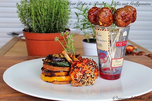 Meat Pops & Poulet Lollipops mit Grillgemüse - Grillrezept