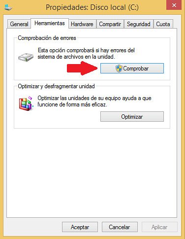 Comprobación de errores de disco duro en Windows