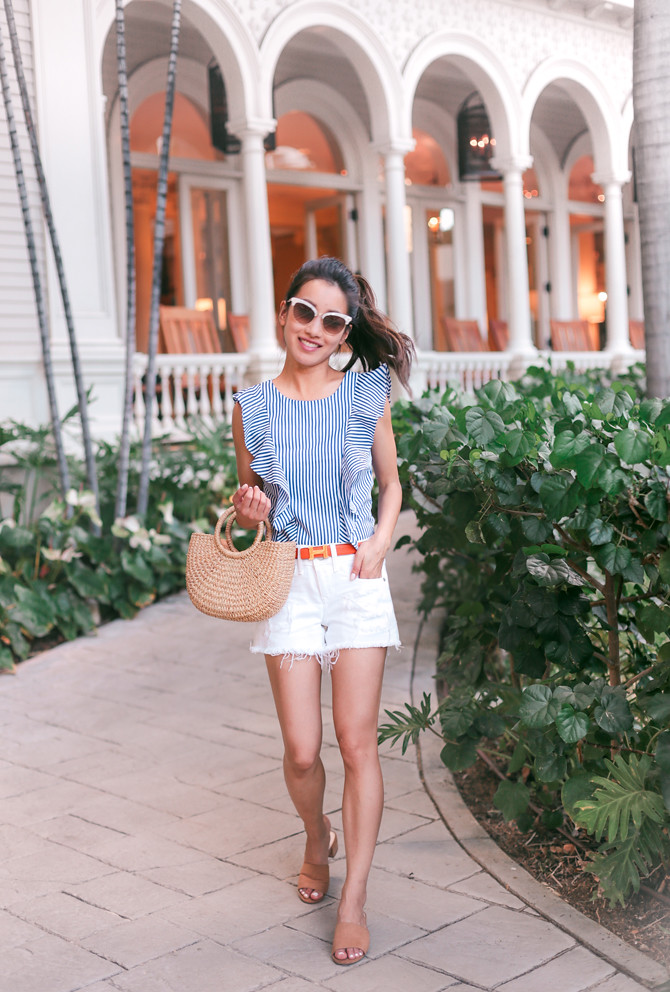 blue white stripes summer casual travel outfit petite fashion