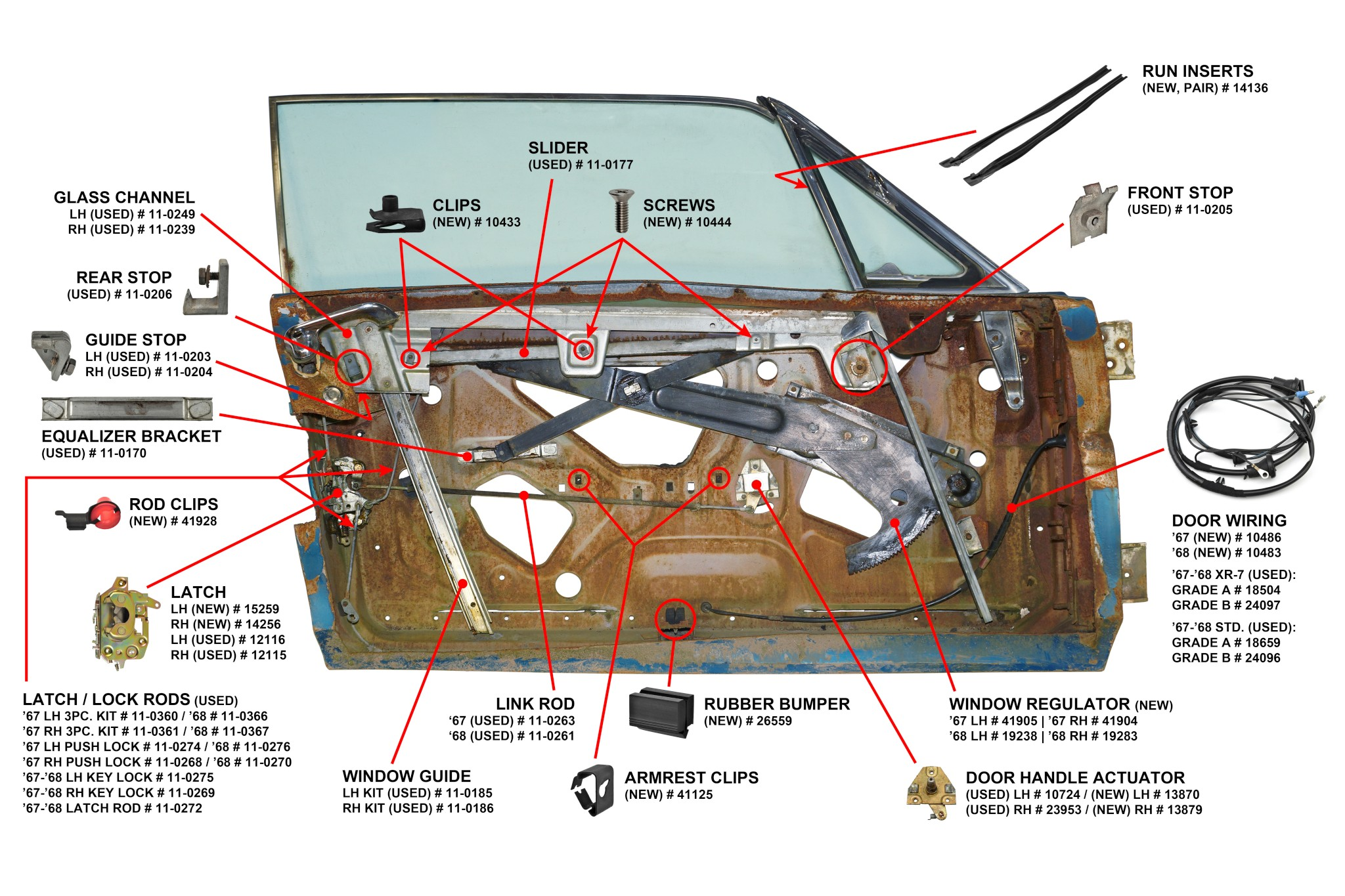 1967-68 Cougar Door Parts Diagram