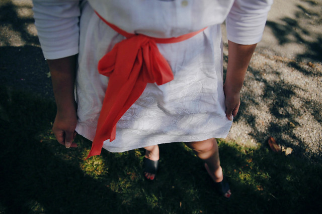 Embroidered white linen and mixed material dress in Napa Valley