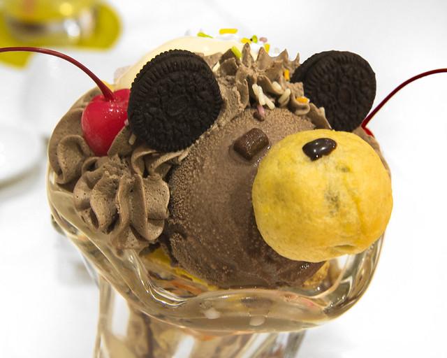 Helado con forma de ratón que nos sirvieron en el café de sirvientas de Japón