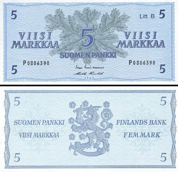 5 Markka Fínsko 1963, P106Aa