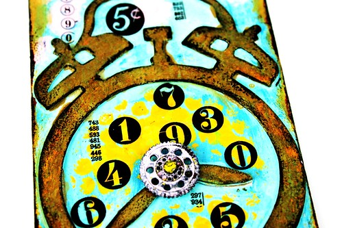 Meihsia Liu Simply Paper Crafts Mixed Media Tag Circle Clock Simon Says Stamp Tim Holtz 3