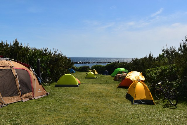 八丈島・底土キャンプ場から見る海