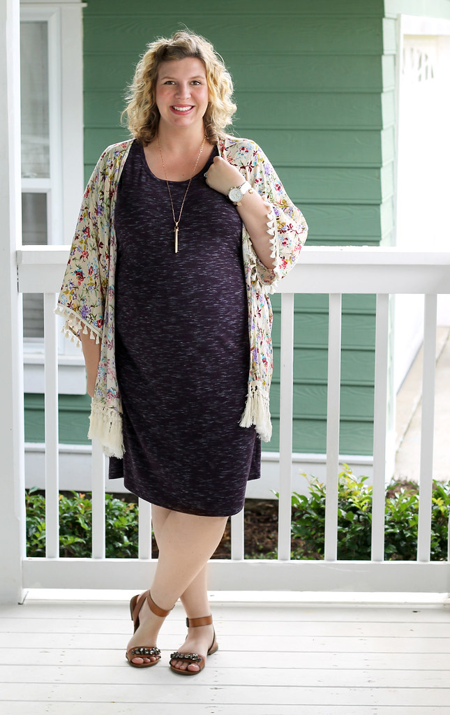 purple maternity dress and cream floral kimono 4