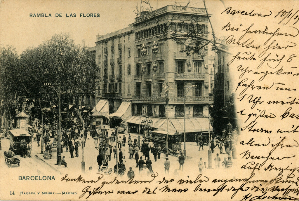 Carte postale de la Rambla de las flores à Barcelone.