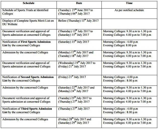 DU SPorts Trial Schedule