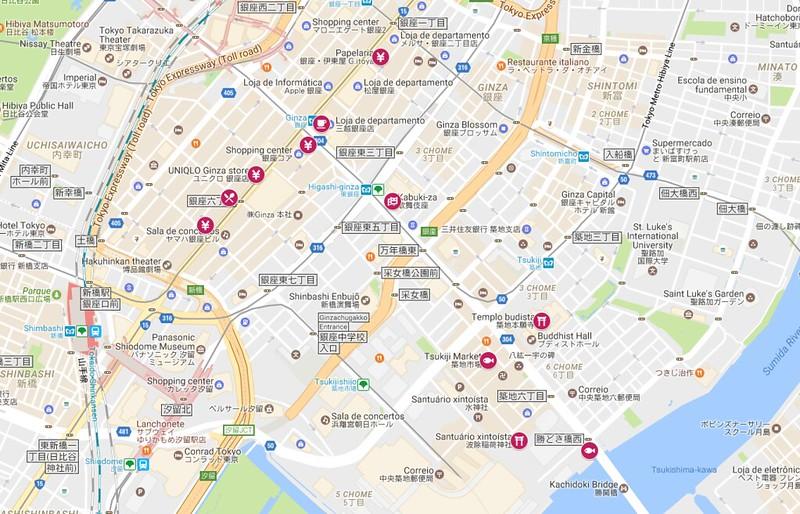 Roteiro Tóquio - o mapa