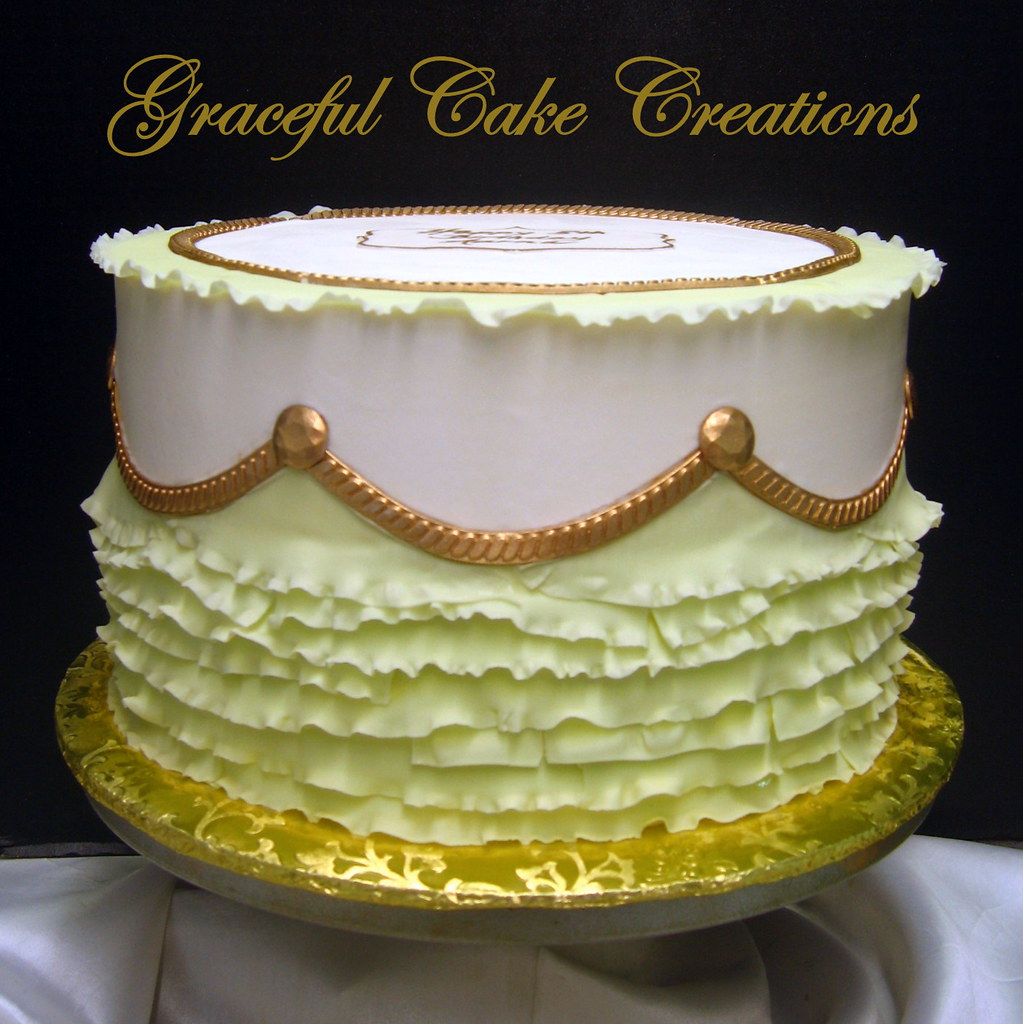 Elegant Birthday Cake With Pistachio Green Ruffles And Gol Flickr
