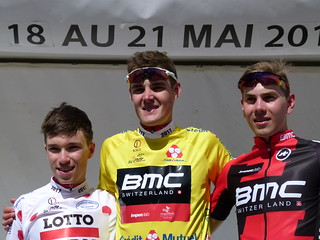 2nd Bjorg LAMBRECHT (Lotto Soudal), 1st Pavel SIVAKOV (BMC Development Team), 3rd Staff CRAS (BMC Development Team)