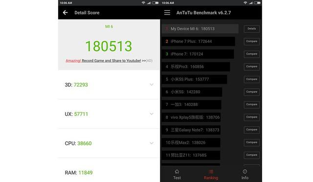 Pengujian Xiaomi Mi 6 menggunakan AnTuTu Benchmark