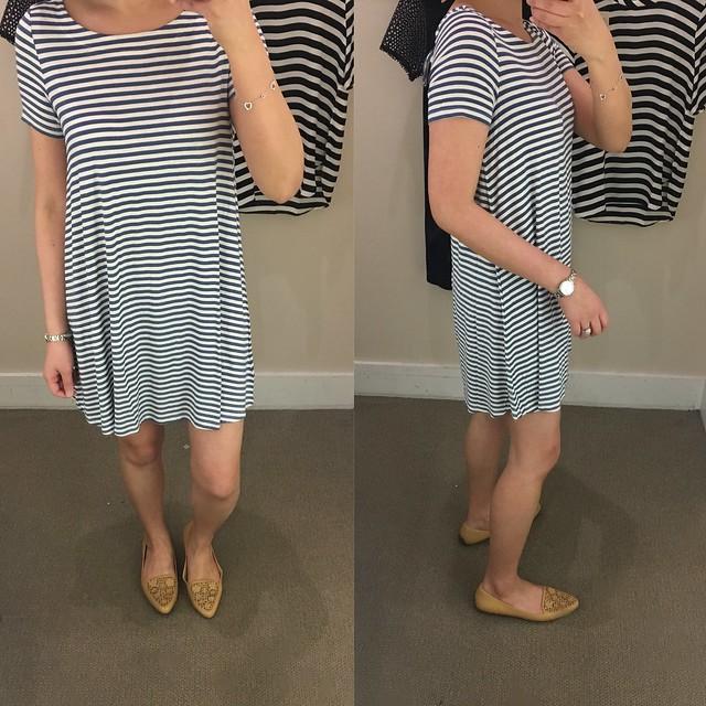LOFT Striped Tie Back Swing Dress, size XSP