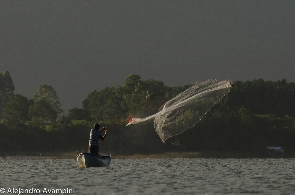 Pescador en bote en la de Ibiraquera tirando la tarrafa sobre un cardumen de peces
