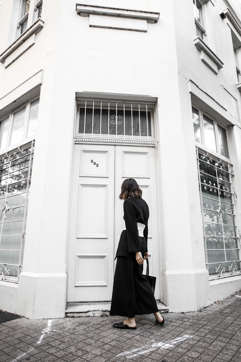 corset belt trend black suit street style loafer mules Givenchy logo tote bag monochrome fashion blogger minimal style kaity modern legacy (7 of 9)