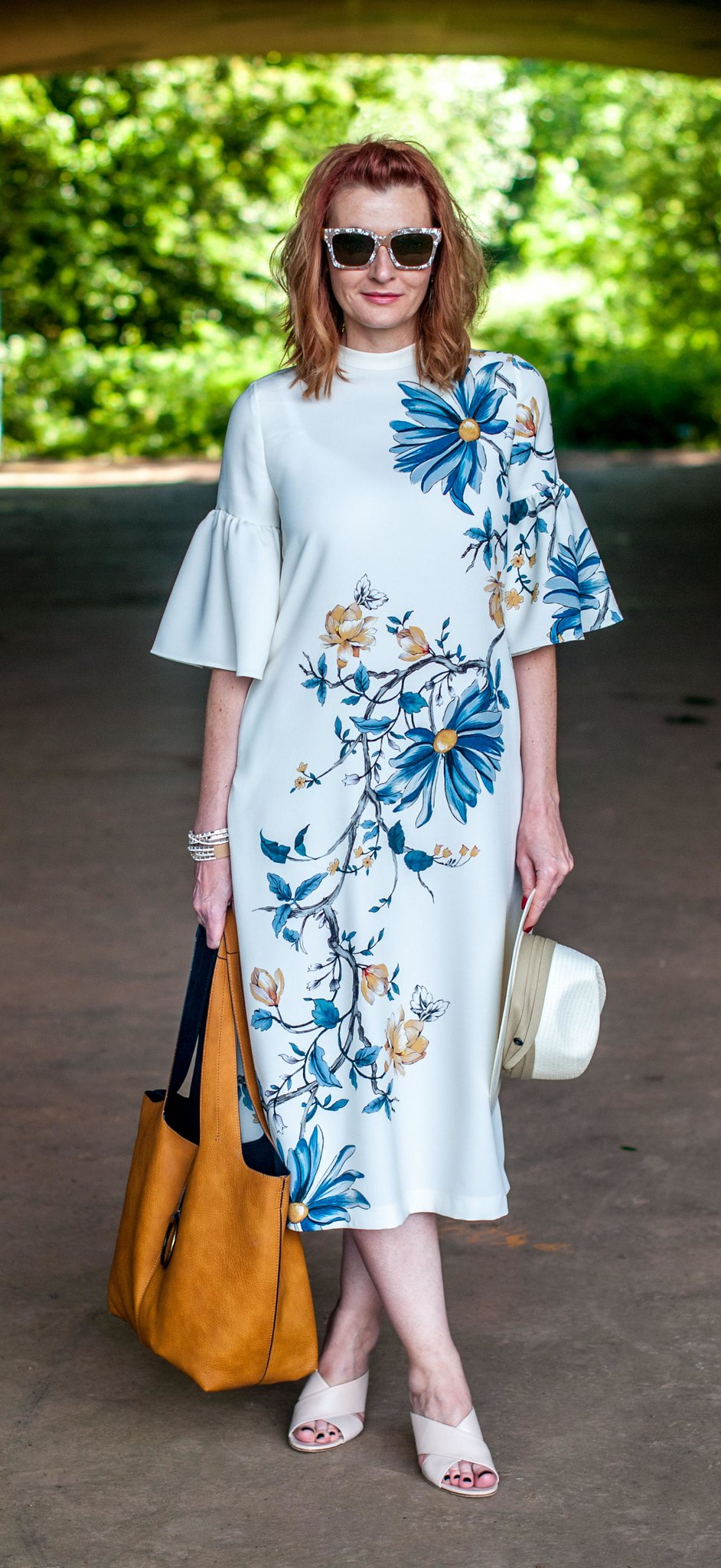 Wedding guest or garden party outfit: Marks & Spencer floral midi dress with flared sleeves  nude cage heel mules  pearl sunglasses | Not Dressed As Lamb, over 40 style