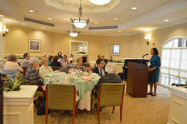 GenMtgMayLunch2017_0020; Endowment Chair Lynda Woods Cleary reports oh the scholarship endowment.