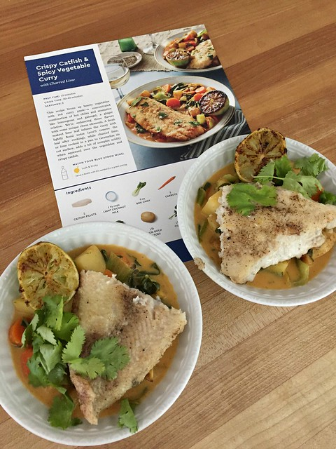 blue apron meal with recipe card