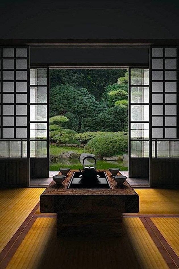 """Một căn phòng Nhật Bản, với trần thấp, cửa giấy, tatami và trà đạo. Nó là tinh túy trong quan niệm sống của người Nhật. Người Nhật Bản xưa kia tôn sùng vẻ đẹp của bóng tối, họ cho rằng những """"sắc tối"""" có trong đồ sơn mài, đồ gốm, hay được hình thành do sự sử dụng lâu ngày sẽ đem lại cho món đồ của họ có một giá trị tuyệt vời của thời gian. Trong một không gian """"thiền"""" như vậy, ánh sáng góp một vai trò phụ đạo, nhưng lại rất quan trọng trong việc thể hiện tinh thần của một không gian tối giản tối thiểu."""