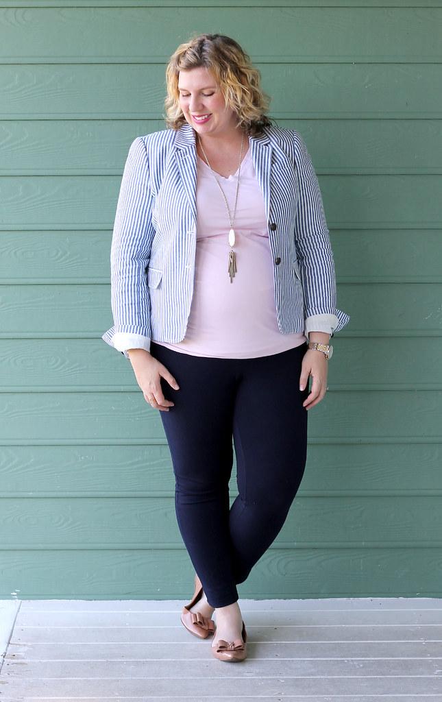 seersucker blazer, navy maternity pencil pants, bow flats 2