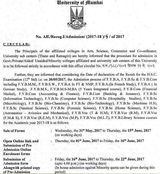 Mumbai University Notification