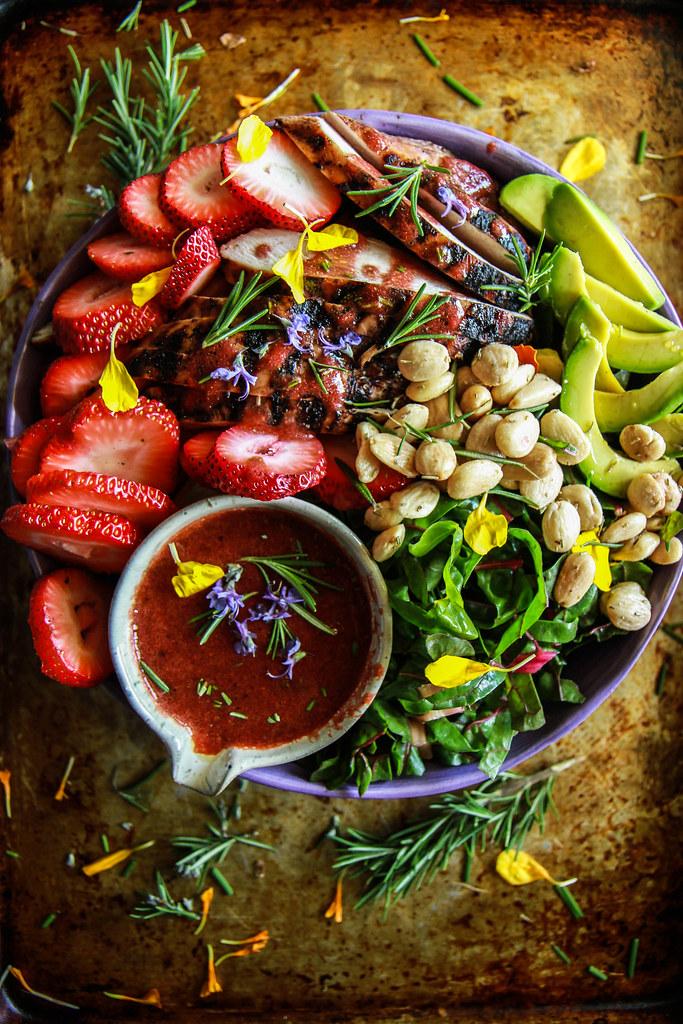 Strawberry Rosemary Balsamic Chicken and Chard Salad from HeatherChristo.com