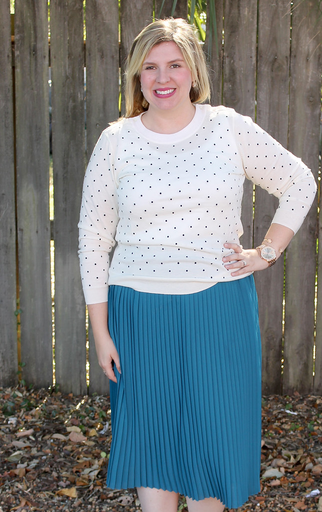 teal midi, polka dot tippi and bow flats 4