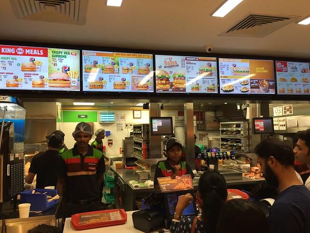 Menu at Burger King