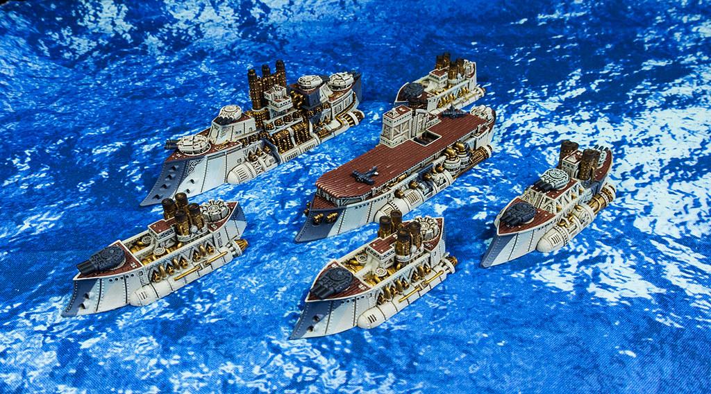 Dystopian Wars Kingdom of Britannia Regent Battle Carrier, Monarch Heavy Battleship, Lord Hood Battleship, Tribal Cruiser